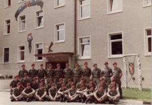 March 1985, Fernspähkompanie 200 personnel, Argonnen Kaserne, Weingarten.  Note:  Eagle above the door.
