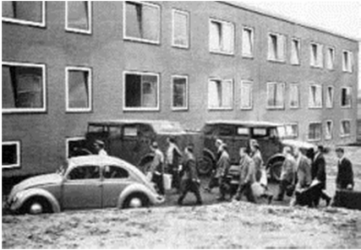 Recruits arrival to the barracks in 1961